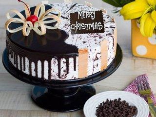Choco Vanilla Christmas Cake