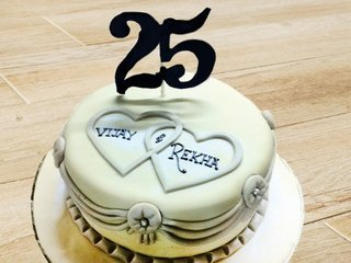 25th Marriage Anniversary Cake