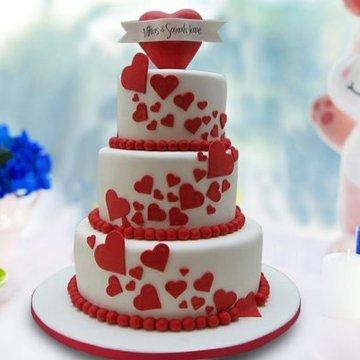 Buy Three Tier Designer Anniversary Cake Hearty Love Cake