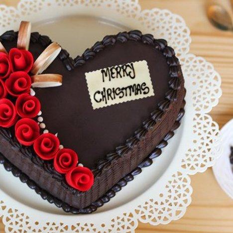 Heart -Shaped Choco Truffle Christmas Cake