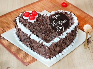 Valentines Day Black Forest Heart Cake