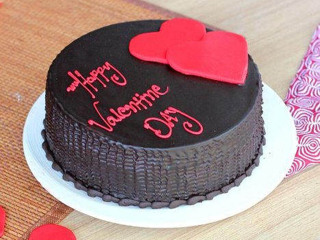 Happy Valentine Choco Truffle Cake with 2 Hearts