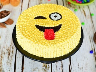 Yellow Emoji Cream Cake