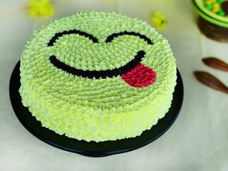 Yellow Smiley Cream Cake