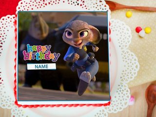 Zootopia Birthday Photo Cake For Girls