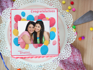 Send Swirling In The Air Congratulations Photo Cake