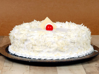 Side View of Creamy White Forest Cake