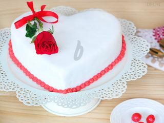 Top View of Heart Shaped Vanilla Strawberry Cake