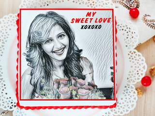 Sketch of My Queen - A valentine photo cake for couple