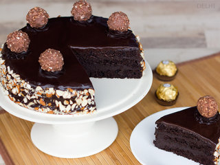 Sliced View of Ferrero Rocher Cake