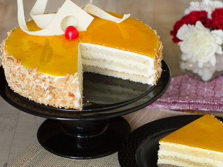 Slice View of Mango Cake