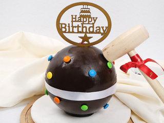 Spherical Chocolate Pinata Cake with Hammer