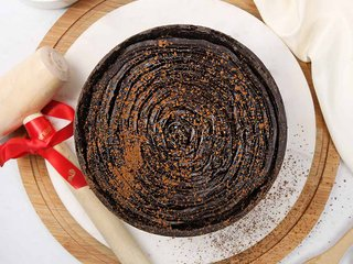Top View of Inside Chocolate Pinata Cake