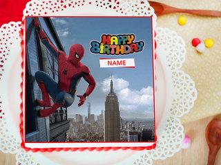 Spiderman Themed Birthday Photo Cake