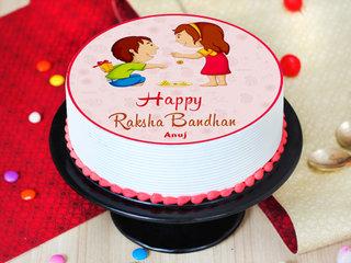 Round Shape Rakhi Photo Cake with Rakhi - Side View