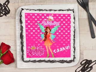 Top View of Pink Barbie Poster Cake