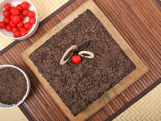 Square-Shaped Choco Filled Black Forest Cake