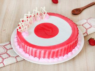 Glazed Round Strawberry Cake - Buy Online in Hyderabad