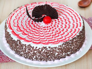 Zoomed View of Chocolate Strawberry Cake