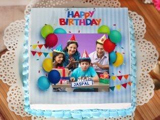 Rectangle Shape Birthday Party Photo Cake