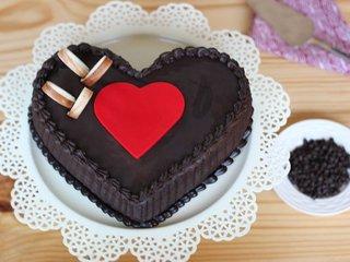 Top View of Double Heart Choco Truffle Cake