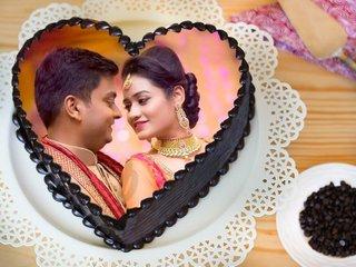 Heart Shaped Photo Cake for Couple