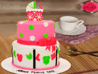 Sumptuous Gala - 2 Tier Baby Shower Fondant Cake