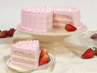 Sliced View of Tasty Strawberry Vegan Cake