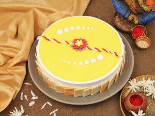 The Blissful Pineapple Cake and Rudraksha Rakhi Combo