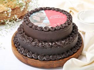 Chocolaty Two Tier Photo Cake