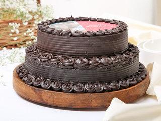 Two Tier Chocolate Photo Cake