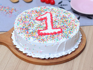 Vanilla Cake With Toppings For 1st Birthday