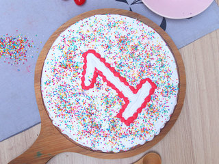 Top View of Vanilla Cake With Toppings For 1st Birthday