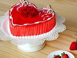 Side View of Juicy Heart Shape Strawberry Cake