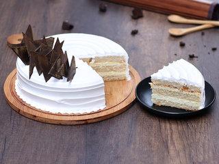 Sliced View of Classic Round Vegan Vanilla Cake
