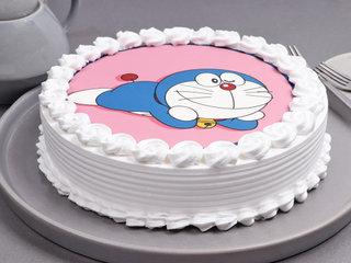 White Lip-Smacking Doraemon Poster Cake