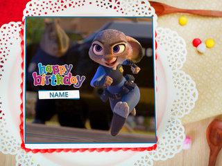 Zootopia Birthday Photo Cake For Girls